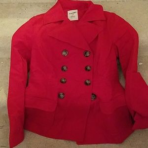 old navy textured red peacoat